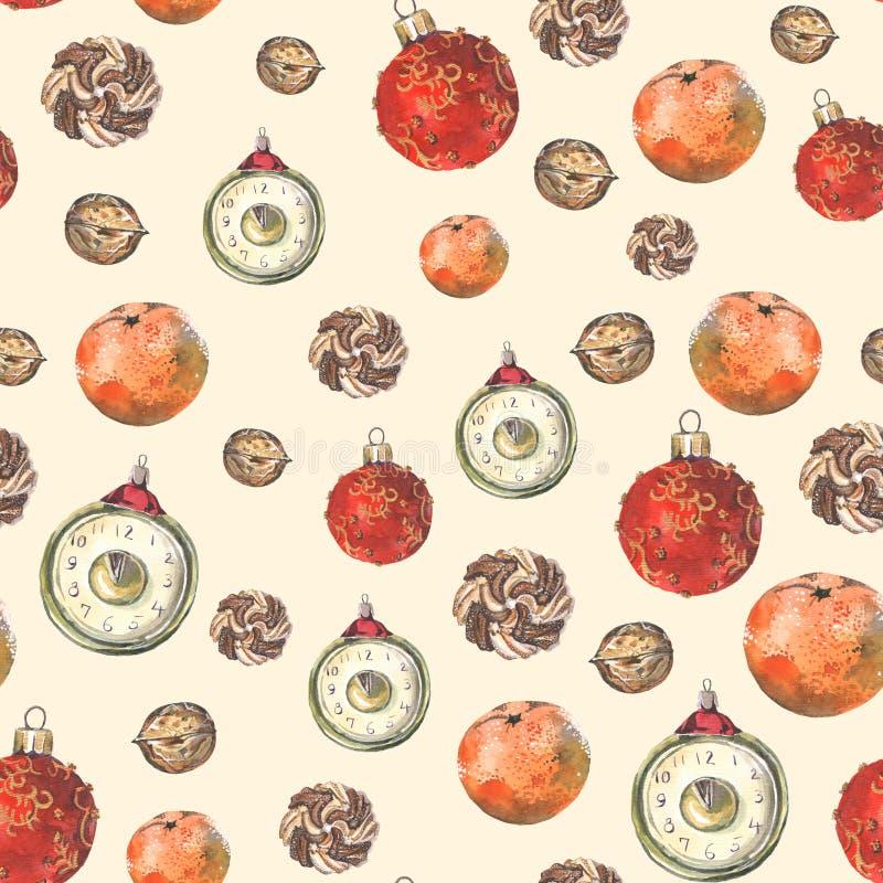 Nahtloses Muster mit Weihnachtsdekoration vektor abbildung