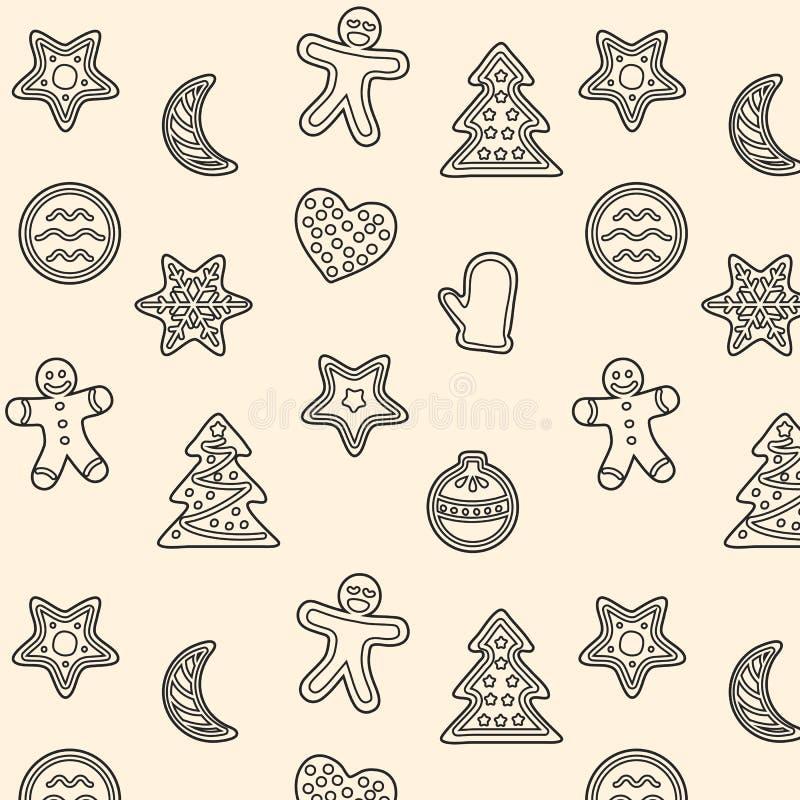 Nahtloses Muster mit Weihnachtslebkuchenplätzchen stock abbildung