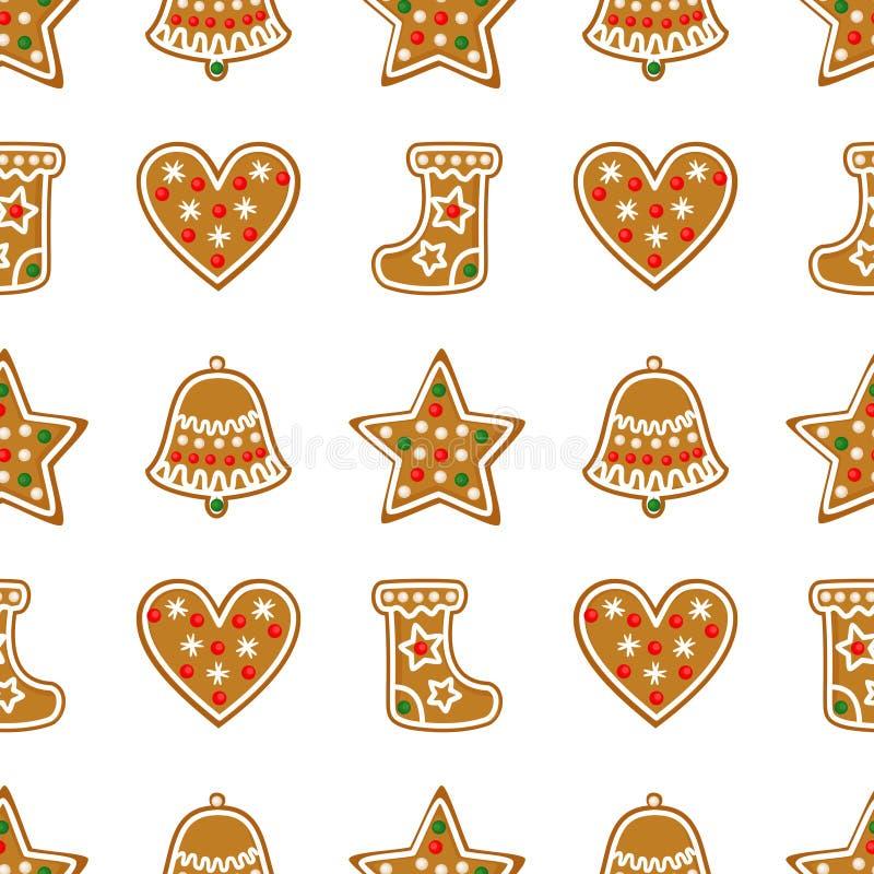 Nahtloses Muster mit Weihnachtslebkuchenplätzchen - Glocke, Weihnachtsstrumpf, Stern, Herz stock abbildung