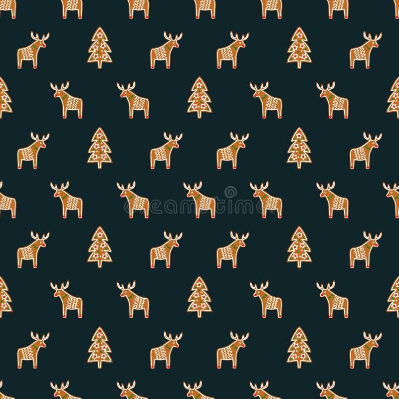 Nahtloses Muster mit Weihnachtslebkuchenplätzchen - Weihnachtsbaum und -rotwild Winterurlaubvektorhintergrund lizenzfreie abbildung