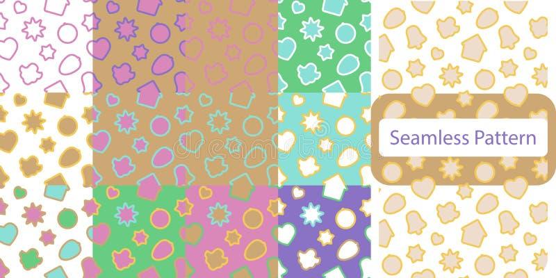 Nahtloses Muster mit Weihnachtslebkuchenplätzchen - Weihnachtssüßigkeit, Glocke, Engel, Stern, Haus, Herz lizenzfreie abbildung