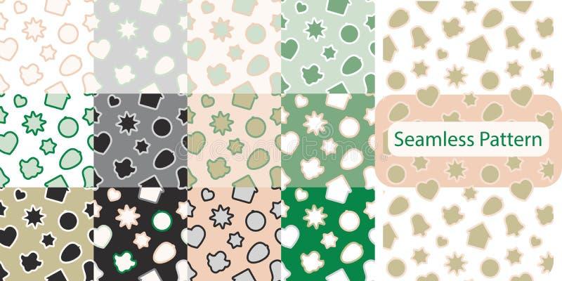 Nahtloses Muster mit Weihnachtslebkuchenplätzchen - Weihnachtssüßigkeit, Glocke, Engel, Stern, Haus, Herz stock abbildung