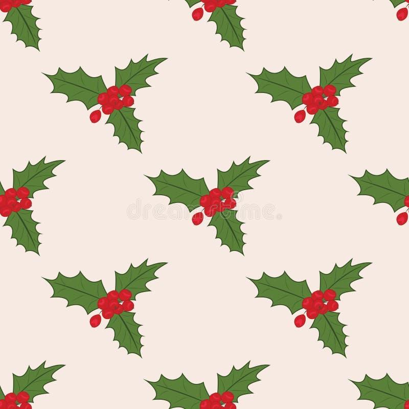 Nahtloses Muster mit Weihnachtsmistelzweig lizenzfreie abbildung