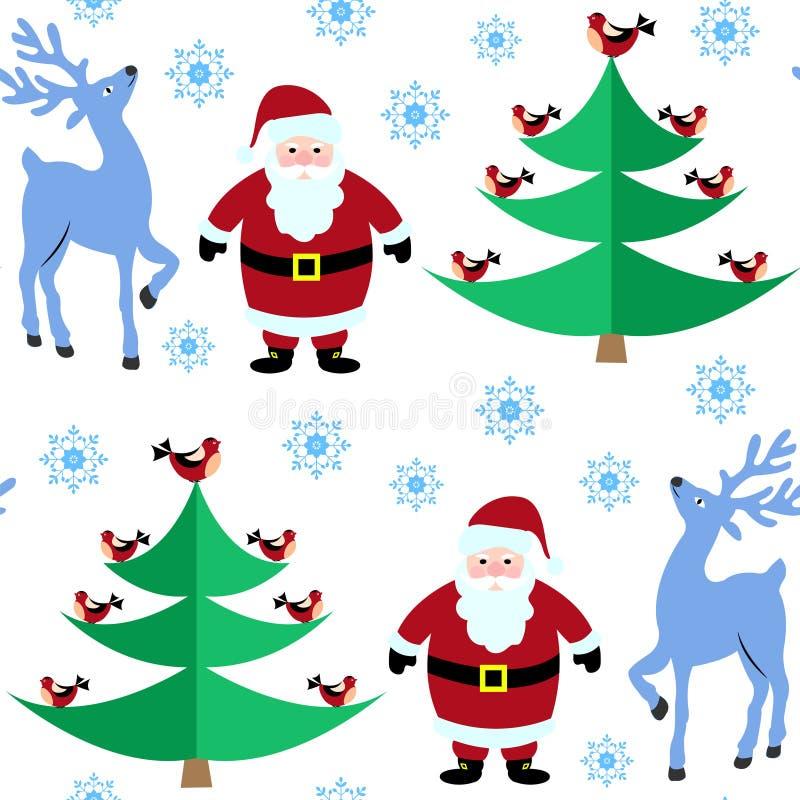 Nahtloses Muster mit Weihnachtsren und -Santa Claus im Winterwald lizenzfreies stockfoto