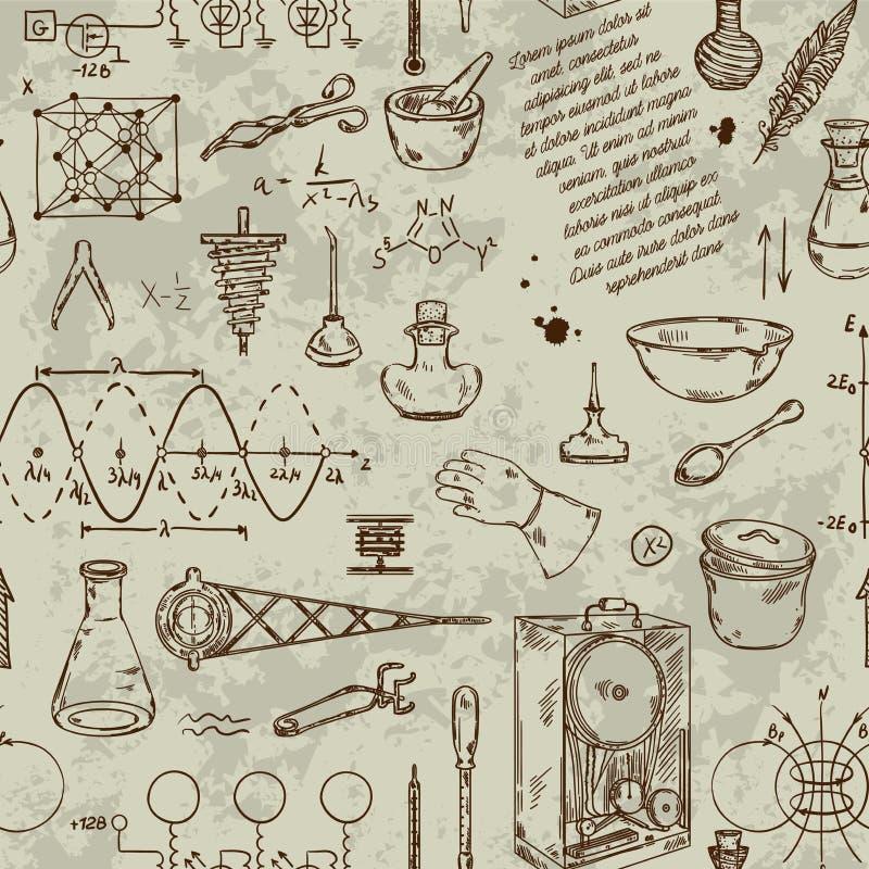 Nahtloses Muster mit Weinlesewissenschaftsgegenständen Wissenschaftliche Ausrüstung für Physik und Chemie stock abbildung