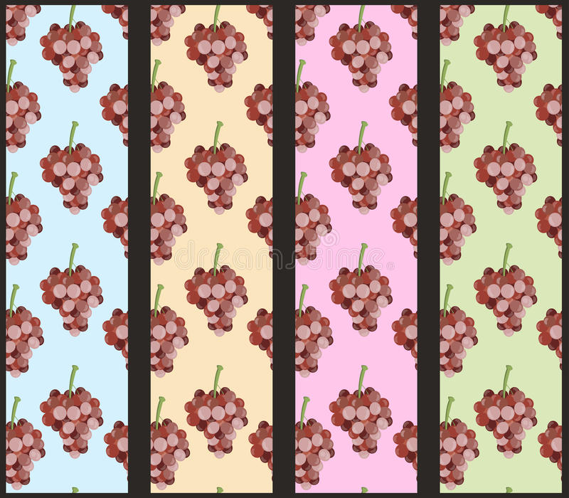 Nahtloses Muster mit Weinstock Traubenmuster set lizenzfreie abbildung
