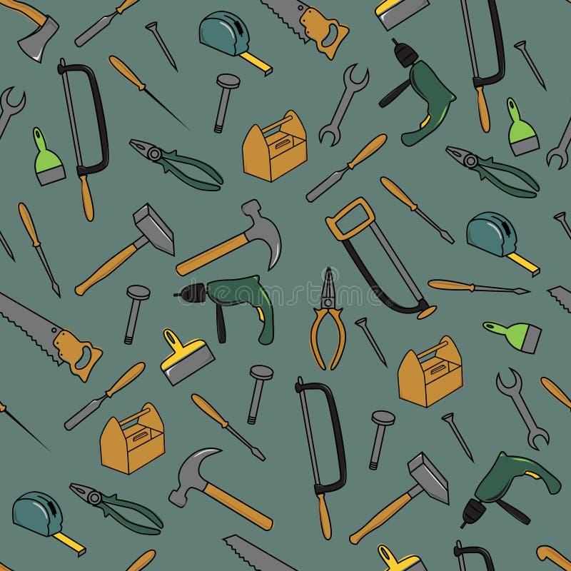 Nahtloses Muster mit Werkzeugen stock abbildung