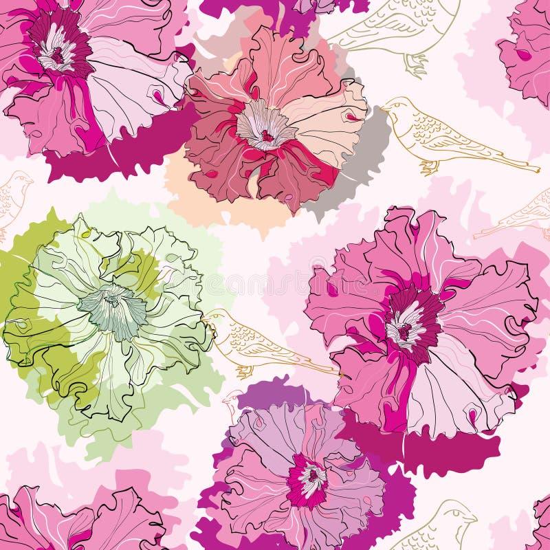 Nahtloses Muster mit zarten Blumen und Vögeln