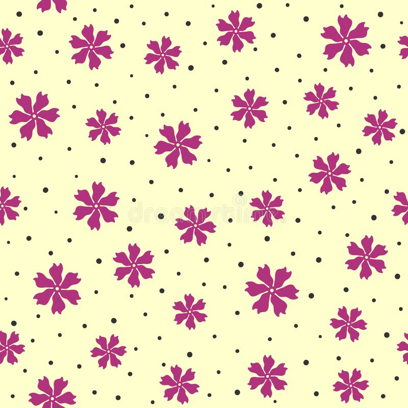 Nahtloses Muster mit zerstreuten abstrakten Blumen und gerundeten Punkten stock abbildung