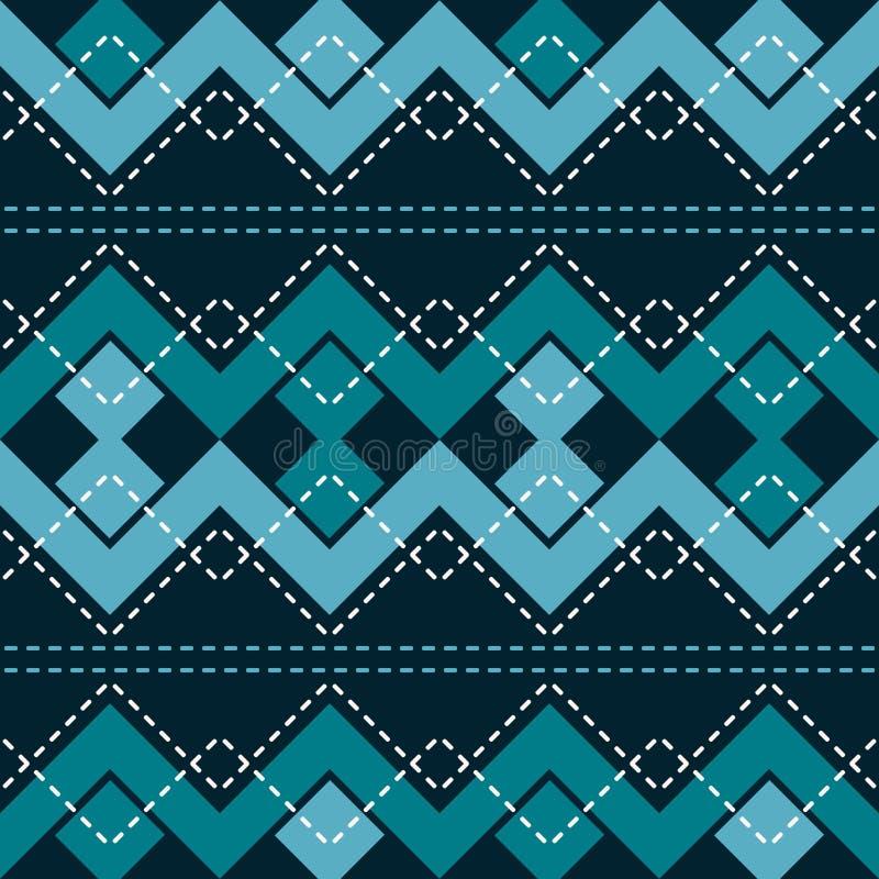 Nahtloses Muster mit Zickzack und verbundenen Quadraten lizenzfreie abbildung