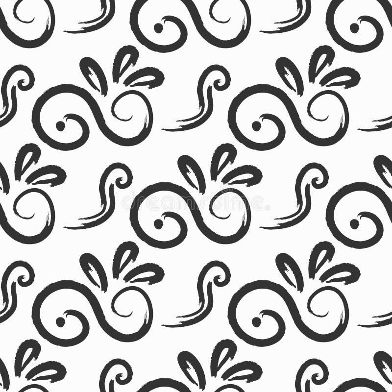 Nahtloses Muster mit Zusammenfassung kurvte die Elemente, die mit Aquarellbürste gemalt wurden Schmutz, Skizze, Tinte, Watercolou vektor abbildung