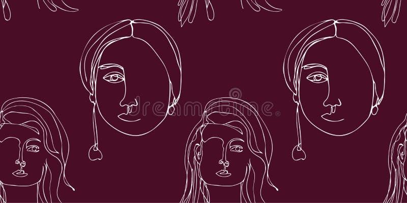 Nahtloses Muster mit Zusammenfassung stellt ununterbrochene Linie Kunst gegenüber Ein Federzeichnung Unbedeutende Schwarzweiss-Gr vektor abbildung
