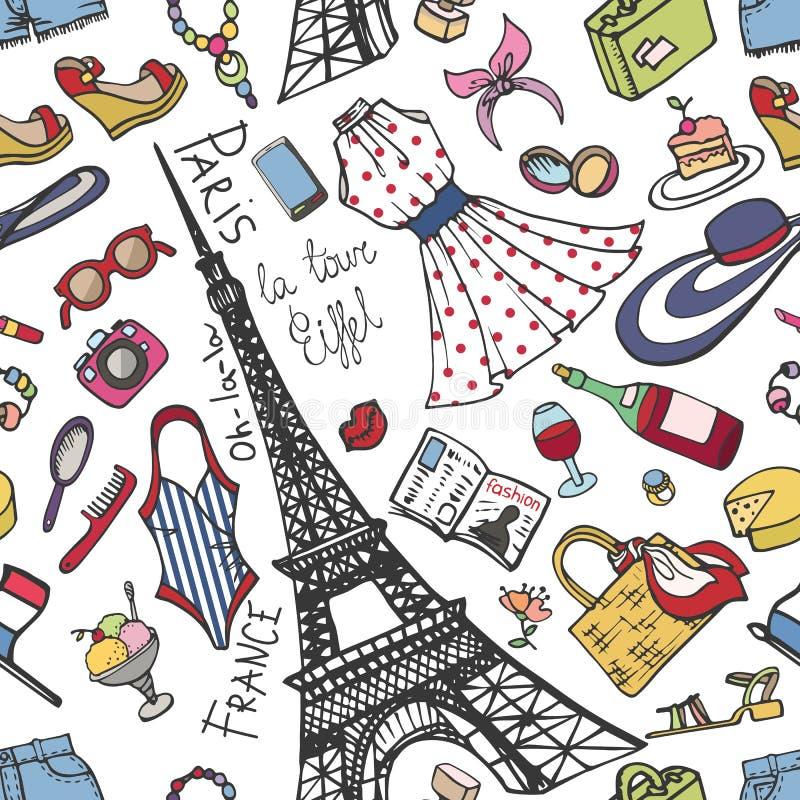 Nahtloses Muster Mode Paris Frankreich Sommer Womancolored-Abnutzung vektor abbildung