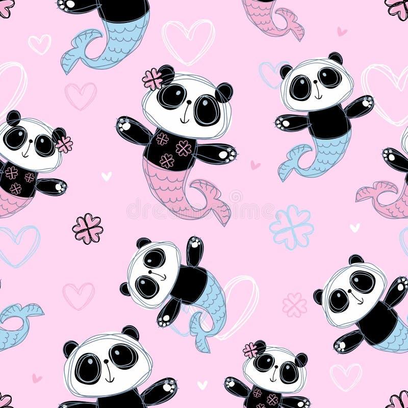 Nahtloses Muster Nette Pandameerjungfrau auf rosa Hintergrund Vektor lizenzfreie abbildung