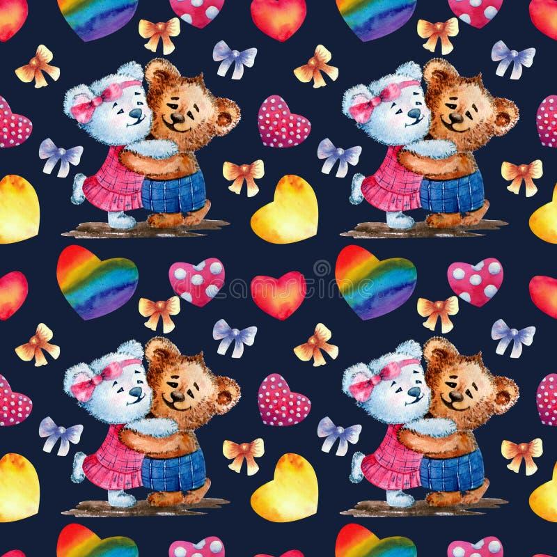 Nahtloses Muster Netter Teddybär betrifft einen Hintergrund von Herzen Dekoratives Bild einer Flugwesenschwalbe ein Blatt Papier  stock abbildung