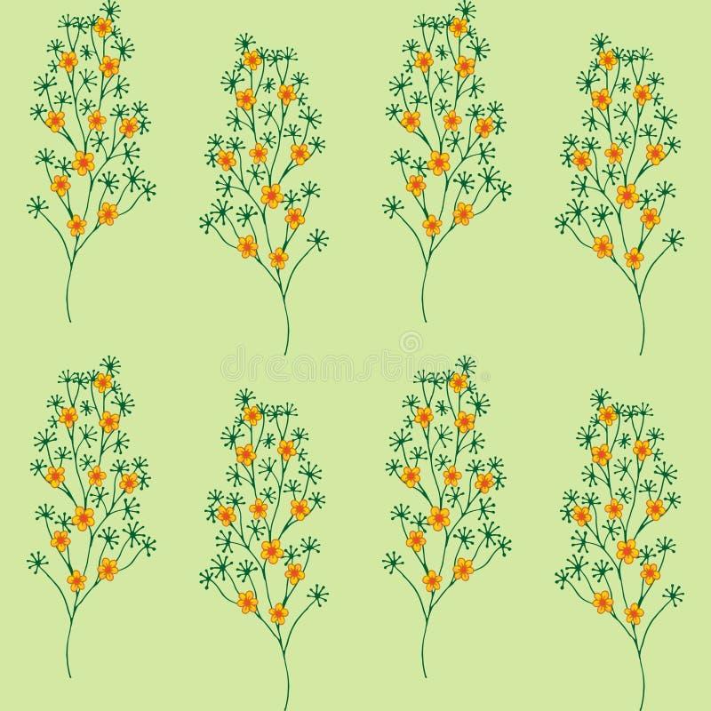 Nahtloses Muster Nettes Muster in den kleinen orange Blumen Grüner Hintergrund Ditsy mit Blumen lizenzfreie abbildung