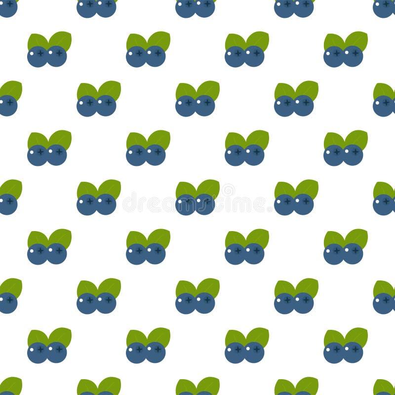 Nahtloses Muster Niederlassungen mit Blaubeeren auf weißem Hintergrund vektor abbildung