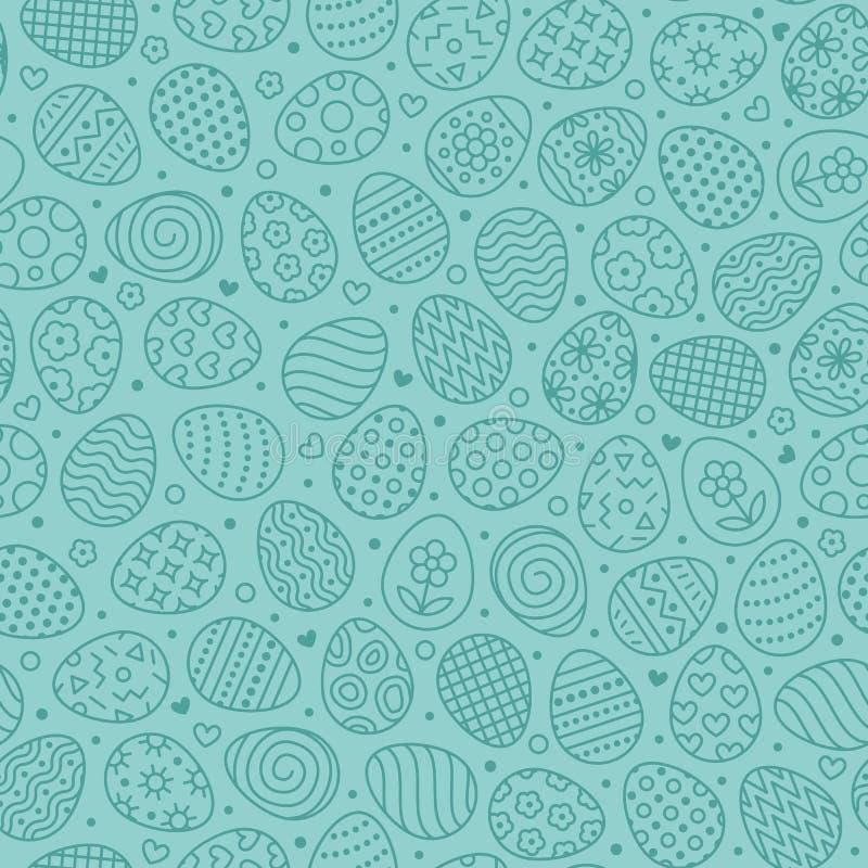 Nahtloses Muster Ostern mit flacher Linie Ikonen von gemalten Eiern Eijagd-Vektorillustrationen, Christentum traditionell lizenzfreie abbildung