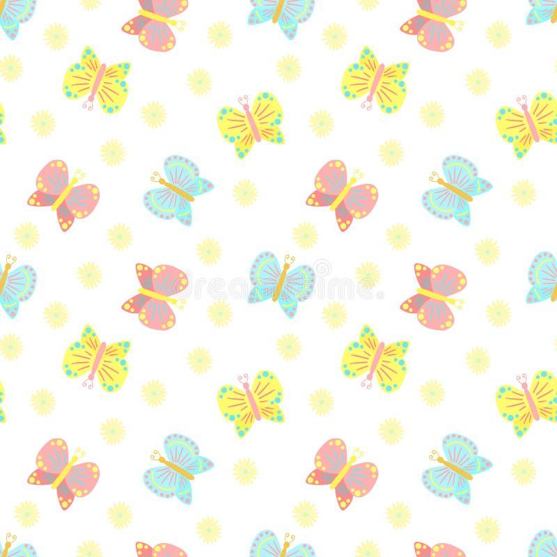 Nahtloses Muster Ostern von Schmetterlingen und von Blumen auf einem transparenten Hintergrund Vektorillustration für Frühlingsfe vektor abbildung