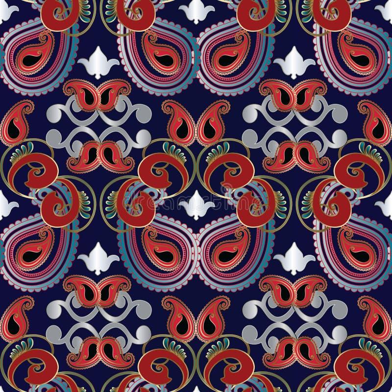 Nahtloses Muster Paisleys lizenzfreie abbildung