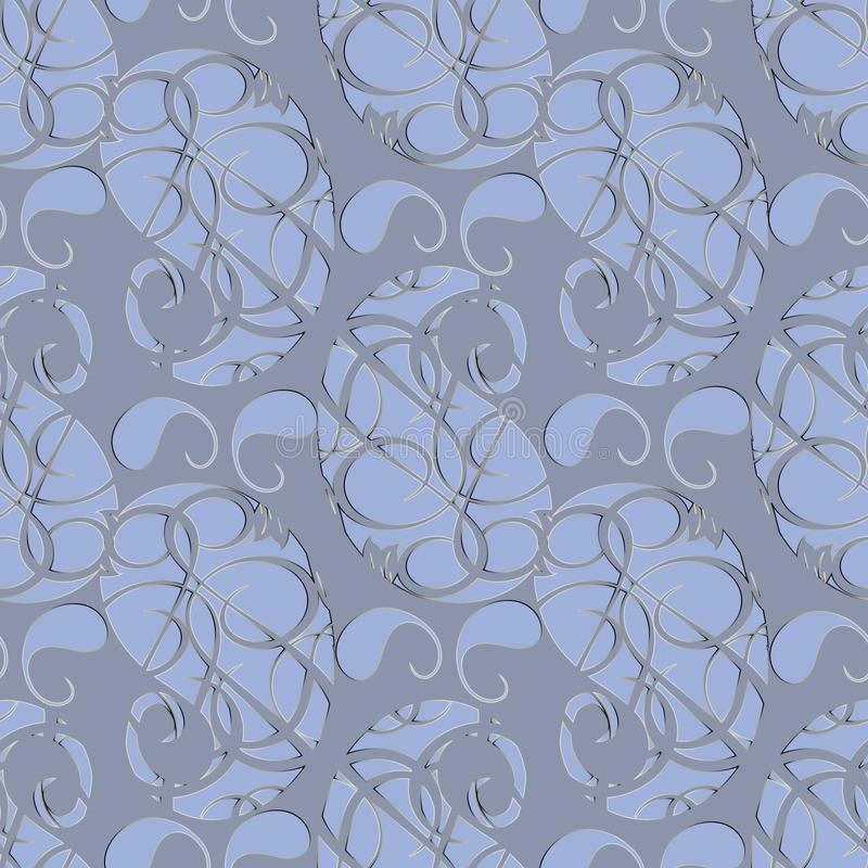 Nahtloses Muster Paisleys Abstraktes graues Blumenhintergrund wallp lizenzfreie abbildung