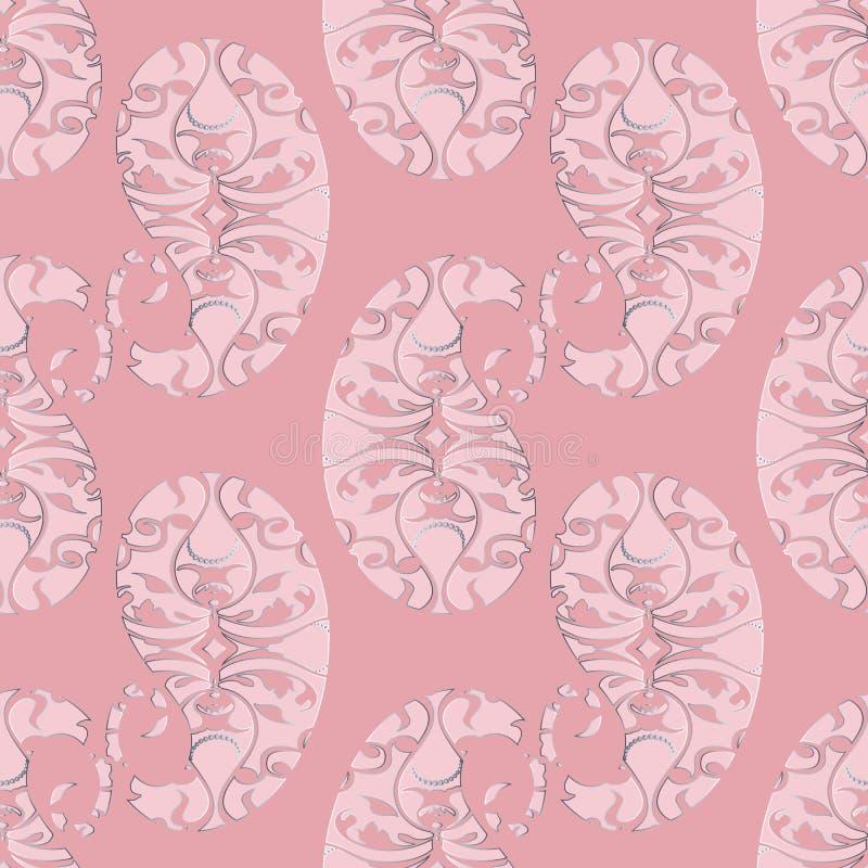 Nahtloses Muster Paisleys Abstraktes rosa Blumenhintergrund wallp lizenzfreie abbildung