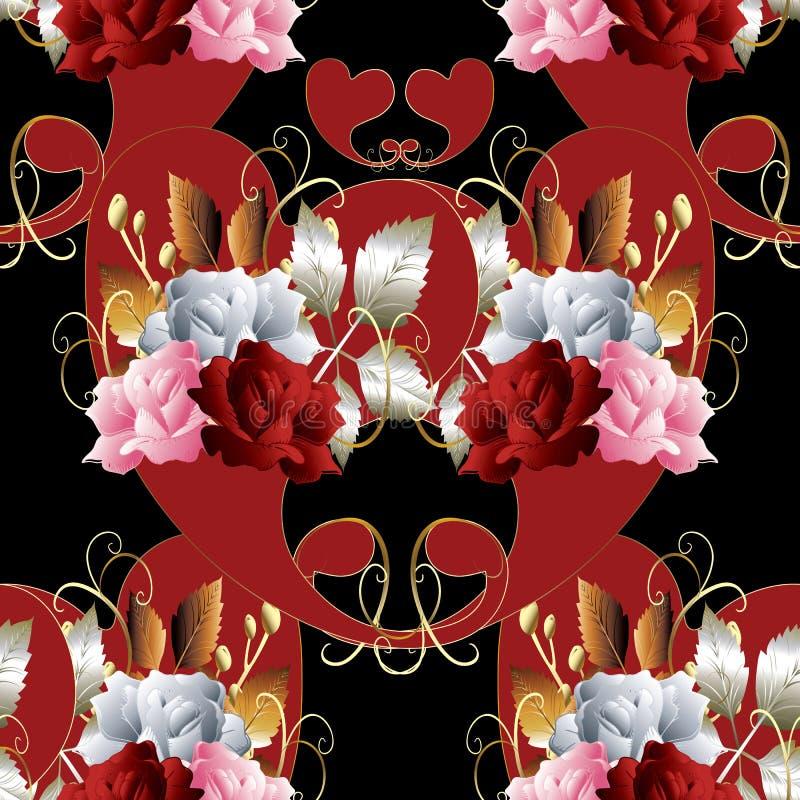 Nahtloses Muster Paisleys Blumenrosenhintergrund Blumen-vint lizenzfreie abbildung