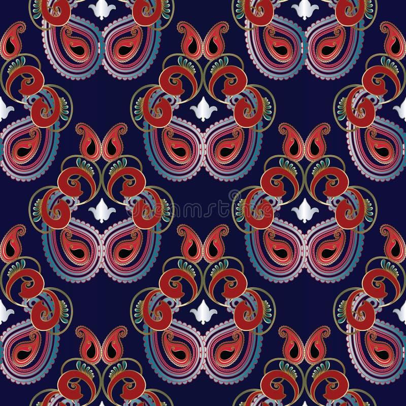 Nahtloses Muster Paisleys Schönes ethnisches backgroimd lizenzfreie abbildung