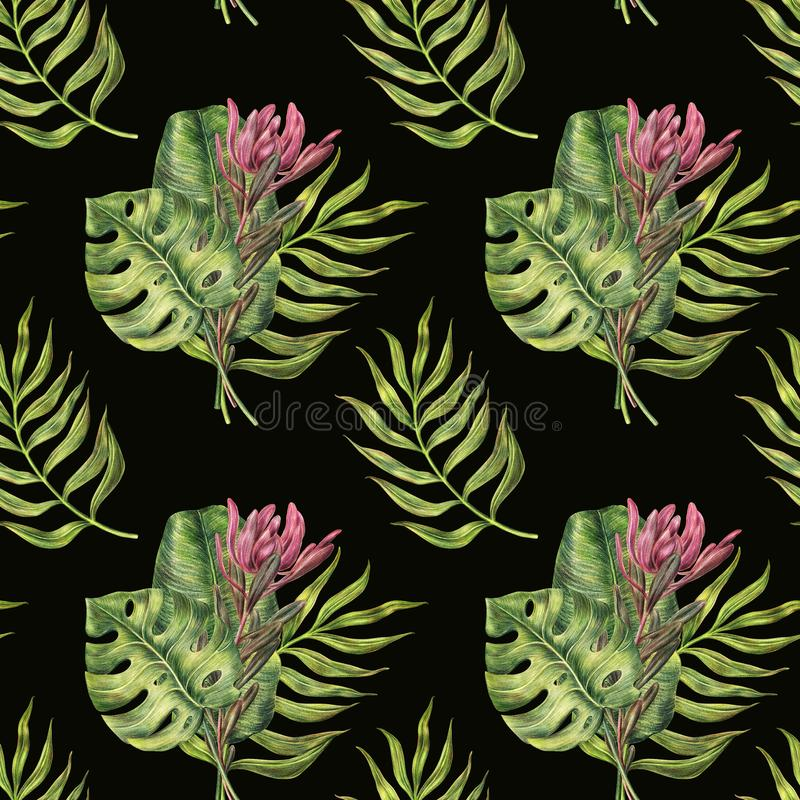 Nahtloses Muster - Palmblätter und Protea auf Schwarzem lizenzfreie abbildung