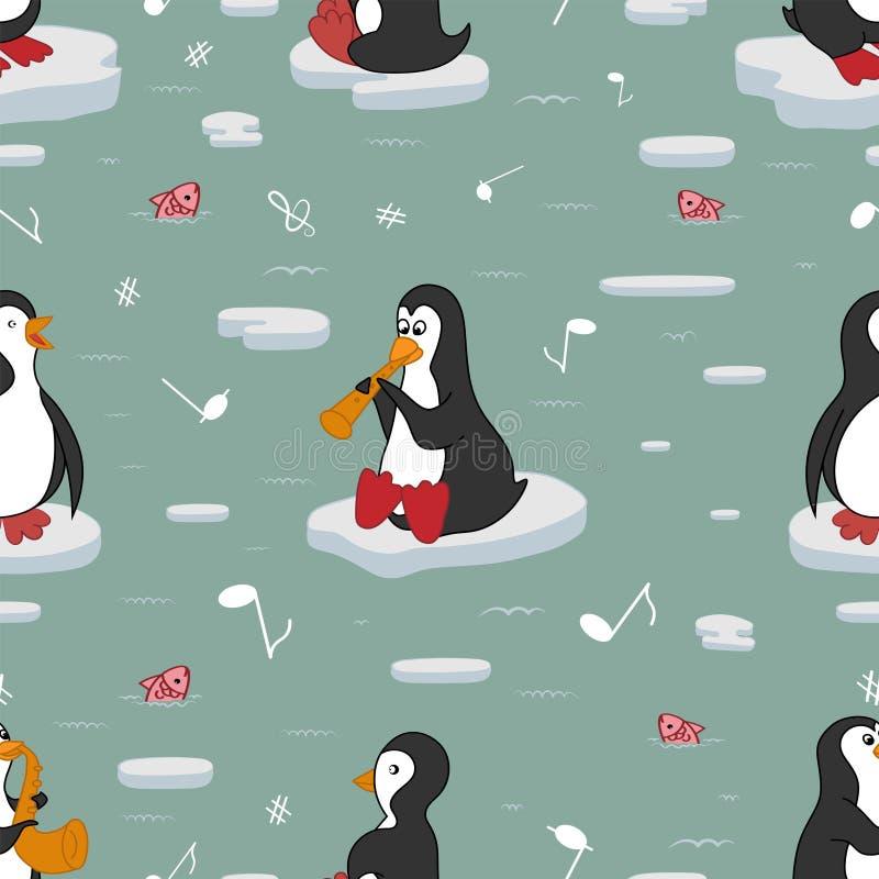 Nahtloses Muster Pinguine sind Musiker lizenzfreie abbildung