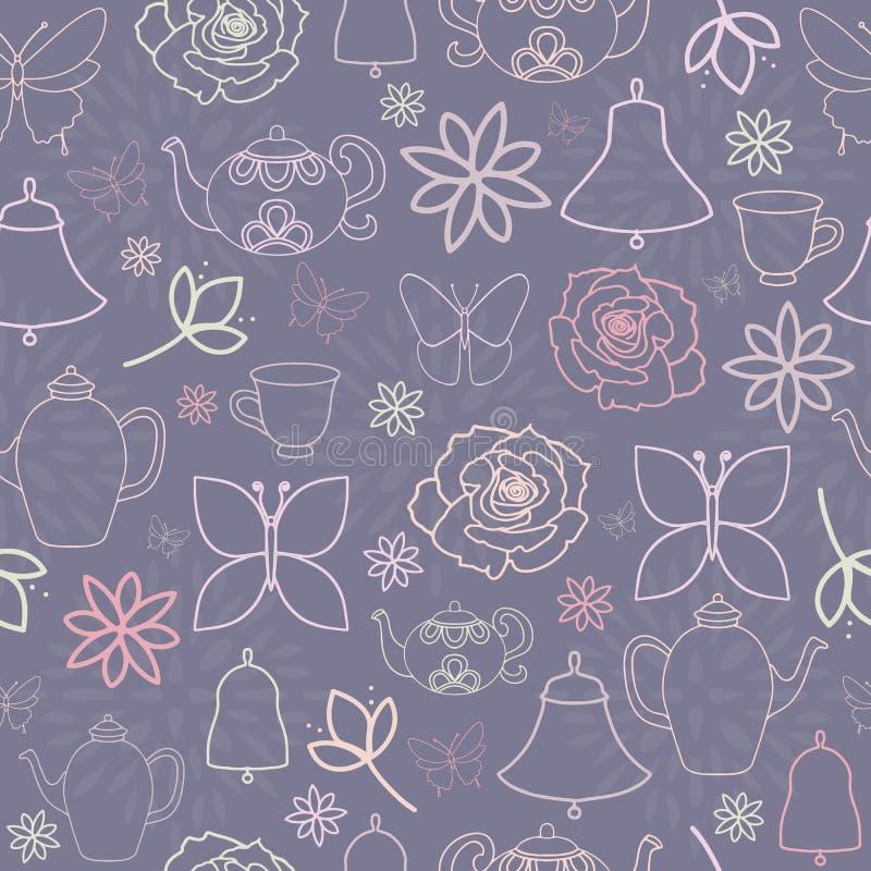 Nahtloses Muster purpurroter Frühlings-Garten-Tea Partys vektor abbildung