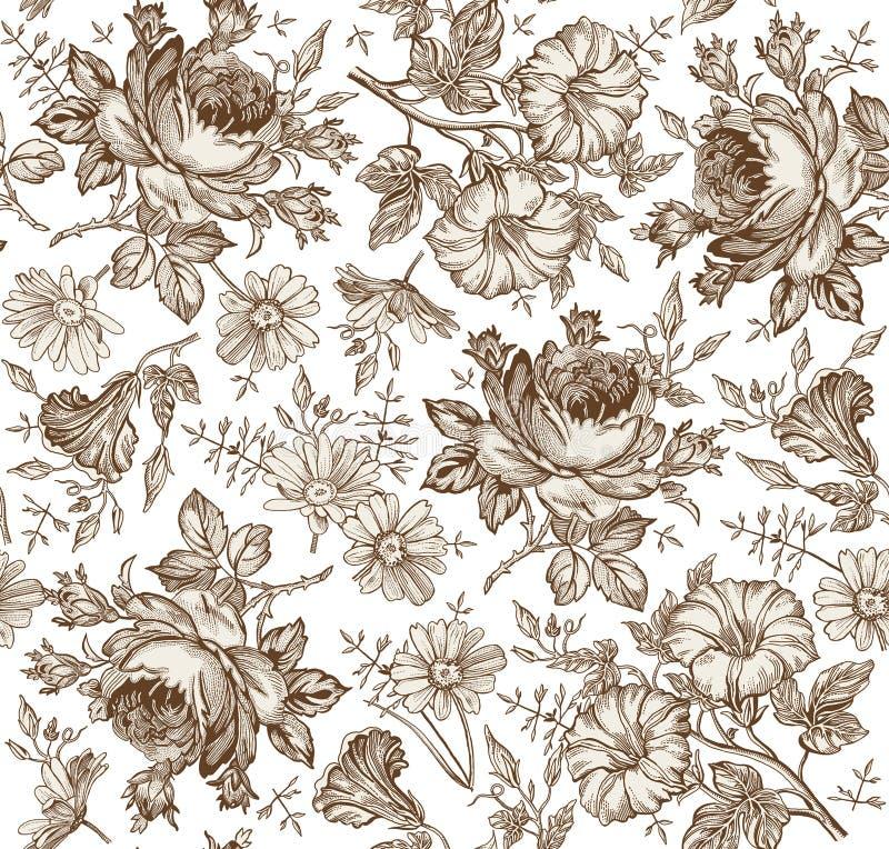 Nahtloses Muster Realistische lokalisierte Blumen Geometrische Verzierung auf einem alten Papier Kamillen-Rose Petunia-Wildflower lizenzfreie abbildung