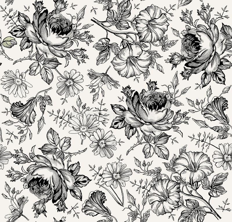 Nahtloses Muster Realistische lokalisierte Blumen Geometrische Verzierung auf einem alten Papier Kamillen-Rose Petunia-Wildflower stock abbildung