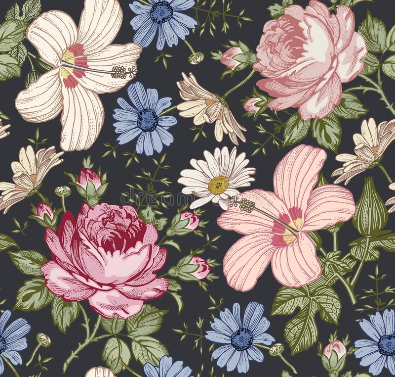 Nahtloses Muster Realistische lokalisierte Blumen Geometrische Verzierung auf einem alten Papier Kamillen-Rosen-Hibiscusmalve tap stock abbildung