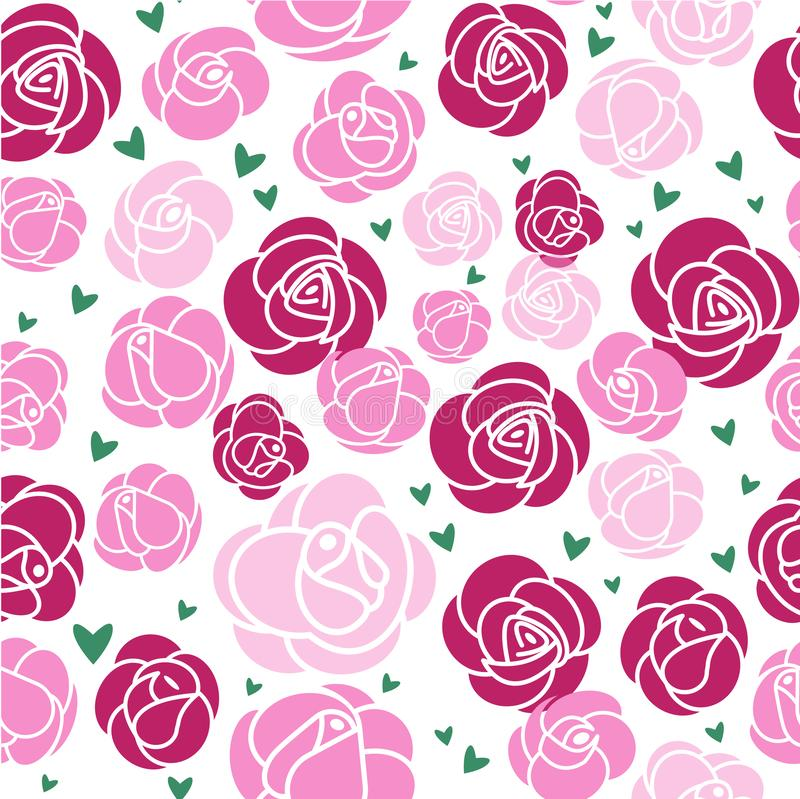 Nahtloses Muster Rosa Rosen und grüne Herzen lizenzfreie abbildung