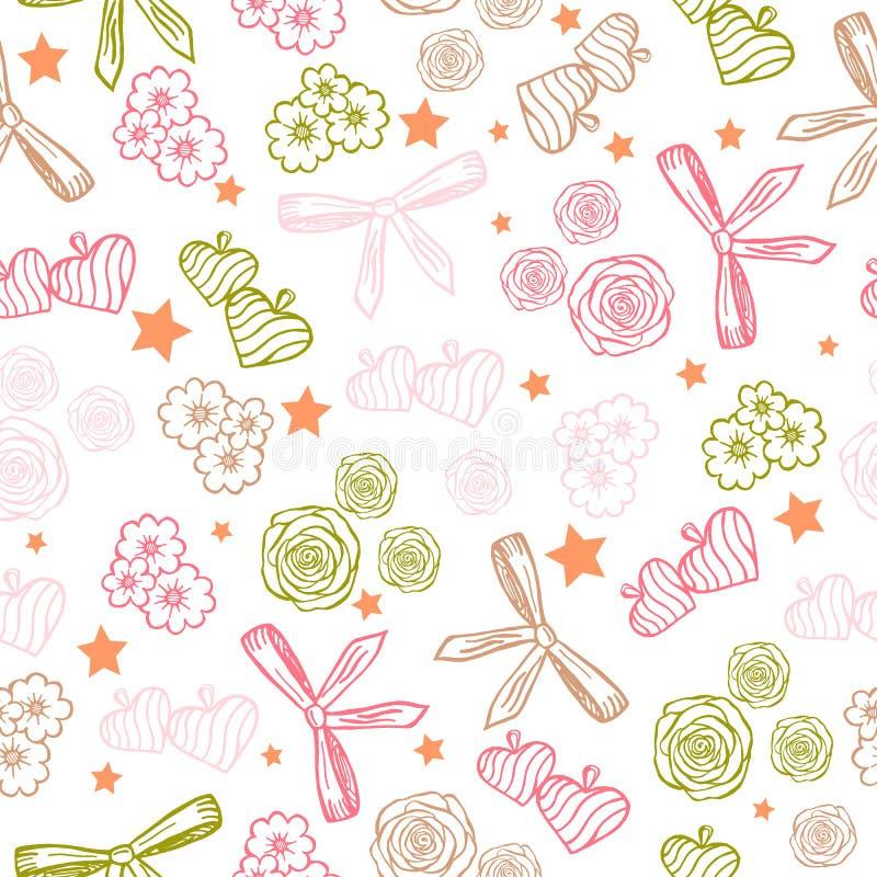 Nahtloses Muster Rosen, Bögen, Herzen, Gänseblümchen, Sterne Handgemachte Vektorillustration lizenzfreie abbildung