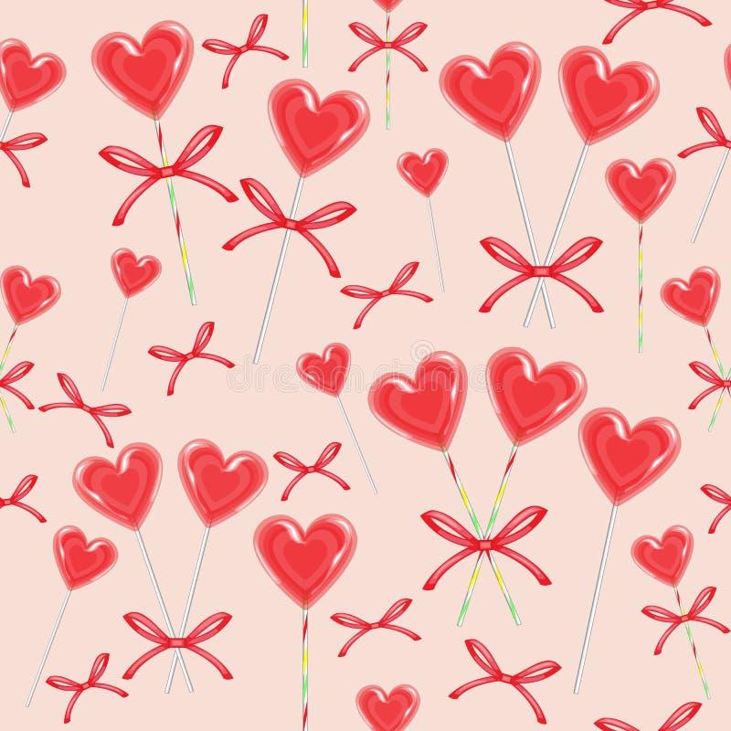 Nahtloses Muster Rote Süßigkeit in Form des Herzens verbunden mit Band Das Geschenk des Valentinsgrußes für St.-Valentinstag Vekt stock abbildung