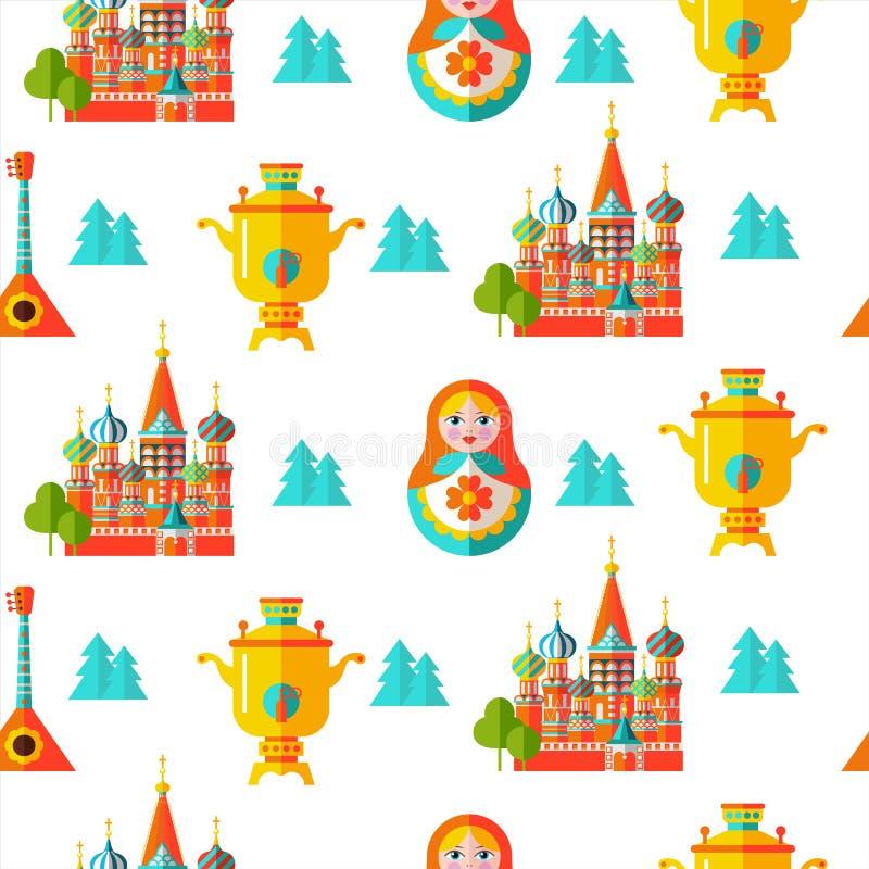 Nahtloses Muster Russische Andenken Auch im corel abgehobenen Betrag stock abbildung