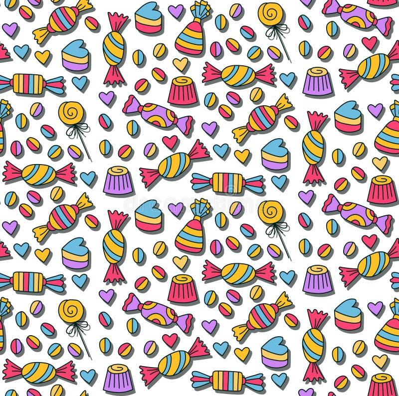 Nahtloses Muster süßer candys Gekritzel stock abbildung