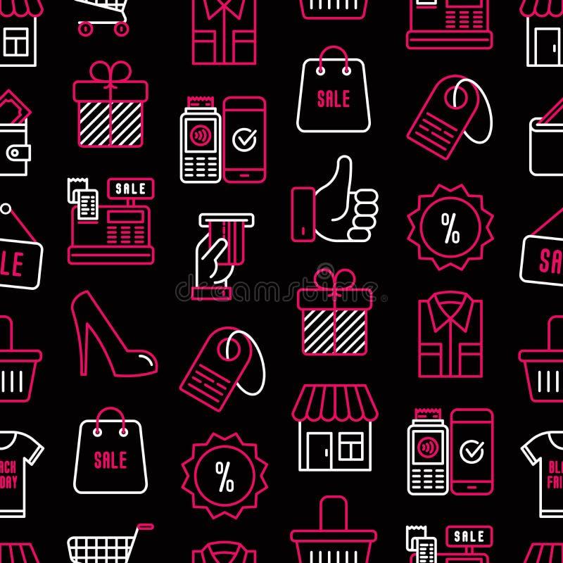 Nahtloses Muster schwarzen Freitag-Verkaufs vektor abbildung