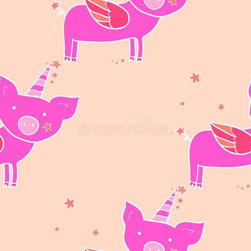 Nahtloses Muster Schwein mit Flügeln und Horn Nette Zeichentrickfilm-Figur Vektorbild, Abbildung vektor abbildung