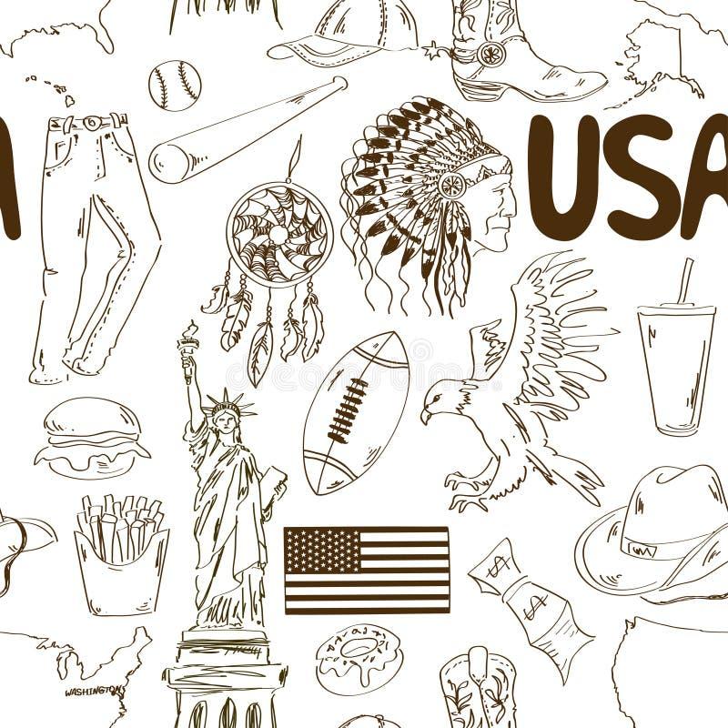 Nahtloses Muster Skizze USA Vektor Abbildung - Illustration von ...