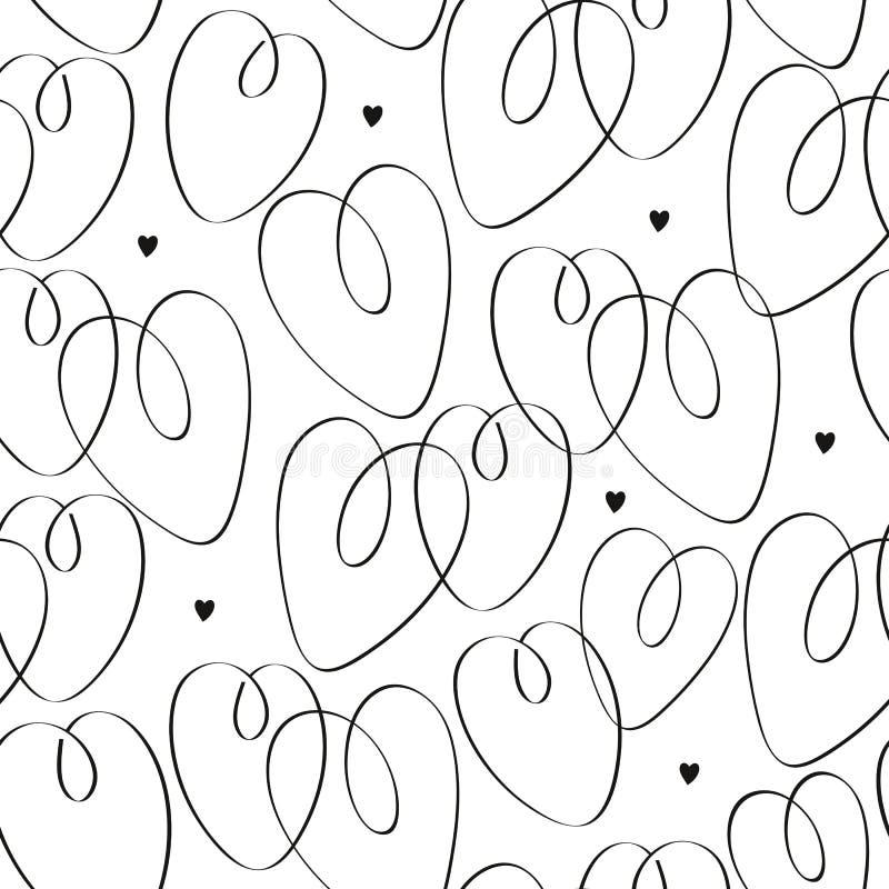 Nahtloses Muster St. Valentine's mit Herzen stock abbildung