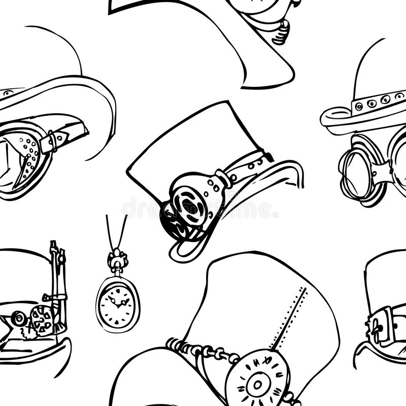 Nahtloses Muster steampunk Abstrakter Hintergrund, Skizze vektor abbildung