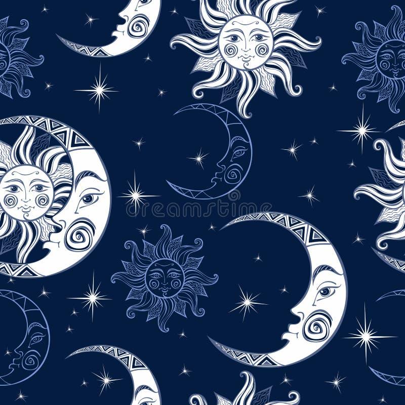 Nahtloses Muster Sun-Mond und -sterne Nächtlicher Himmel mit vielen Sternen Nächtlicher Himmel Ein magischer feenhafter Hintergru lizenzfreie abbildung