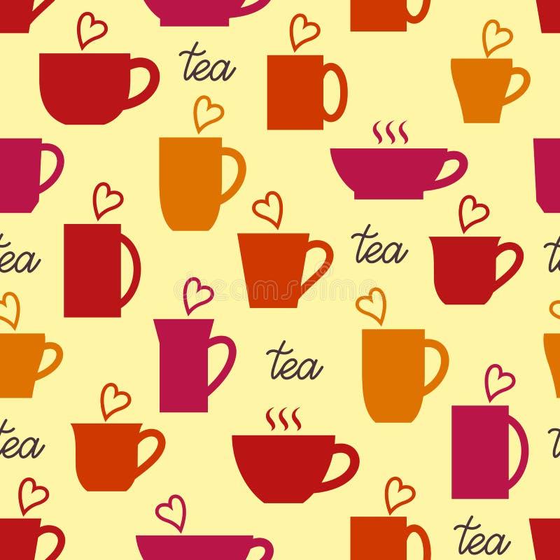 Nahtloses Muster Tassen Tee mit Herzen r lizenzfreie abbildung