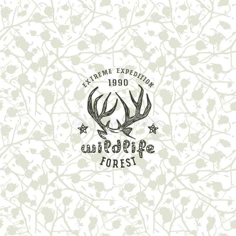 Nahtloses Muster und Emblem der Tarnung für T-Shirt lizenzfreie abbildung