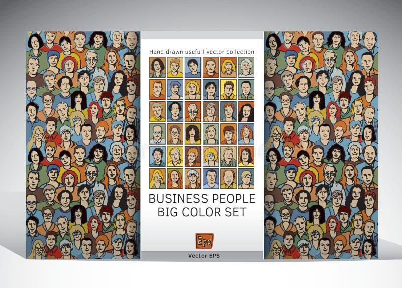 Nahtloses Muster und Ikonen des Leutegeschäfts eingestellt lizenzfreie abbildung