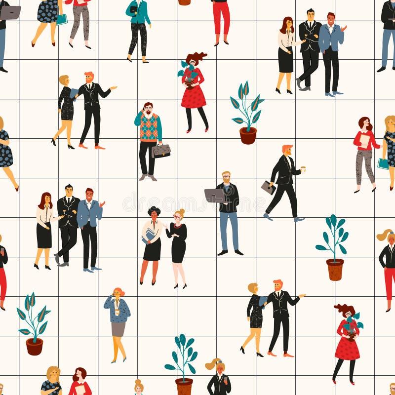 Nahtloses Muster Vectior mit Büroleuten Büroangestellte, Geschäftsmänner, Manager stock abbildung