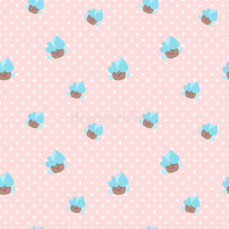 Nahtloses Muster Vektor kawaii kleiner Kuchen Rosa und lizenzfreie abbildung